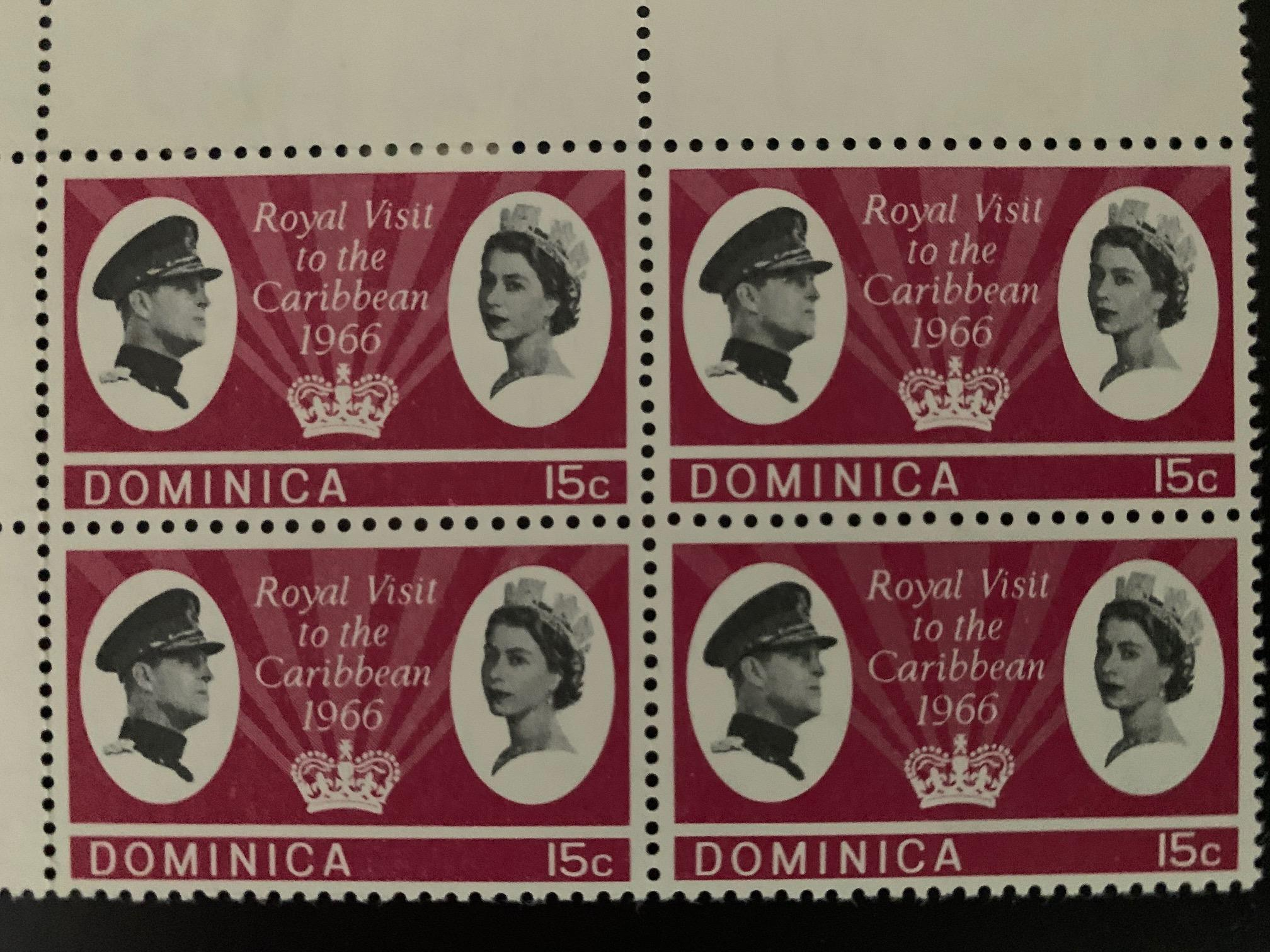 Dominica 1966 Royal Visit stamp - block of 4